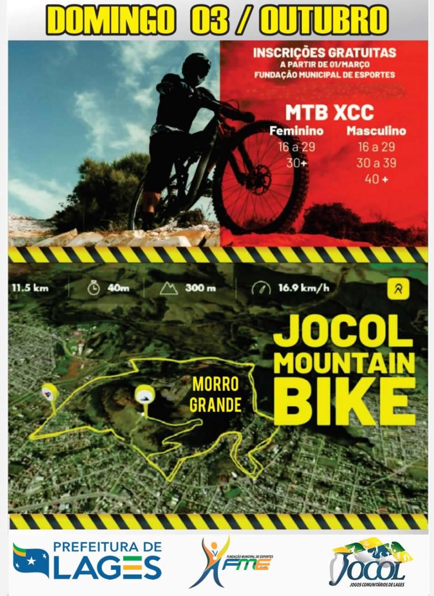 Essa será a primeira vez que a modalidade de MTB terá uma prova no evento  Estão abertas as inscrições para a prova de Mountain Bike dos Jocol -  O evento acontecerá nas ruas em torno do Morro Grande, com a largada embaixo da escadaria e a chegada no alto do Morro da Cruz  27/09/2021 15:02:52